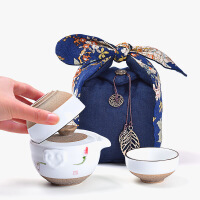 一�匾欢��杀�手�L陶瓷茶�乇�y茶旅行功夫茶具茶杯套�b