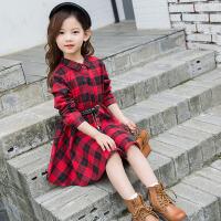 儿童连衣裙 女童数字图案格子衬衫裙子2020韩版春秋装时尚童装学生中大童收腰公主裙潮