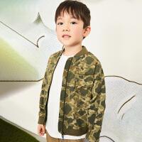 【6折价:311.4元】马拉丁童装男大童外套春装2020年新款洋气撞色迷彩夹克短外套