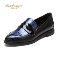 红蜻蜓旗下品牌金粉世家女鞋秋冬皮鞋鞋子女JGB1026