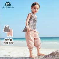 【3折价:60】迷你巴拉巴拉女宝宝短袖套装夏装新款女童吊带阔腿裤两件套