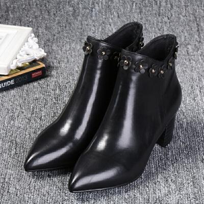 欧洲站新款尖头皮靴花朵装饰粗跟女鞋时尚拉链纯色女士短靴批发