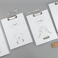 文谷A4板夹试卷夹学生用双板夹创意简约小清新可爱办公资料文件夹资料收纳板夹试卷收纳夹文件整理夹卷子夹纸