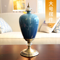 欧式家居样板房装饰品摆件 新古典陶瓷花瓶花艺仿真花套装摆设