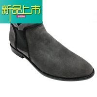 新品上市19春季潮流反绒皮男士单鞋商务休闲磨砂皮鞋英伦尖头男加绒鞋 灰色 单鞋
