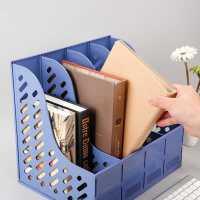 【单件包邮】广博四联文件框筐四栏文件座文件盘文件架稳固型蓝色ADMN4007
