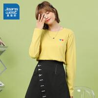 真维斯女装 2021春装新款 简洁易搭印花圆领长袖T恤