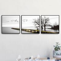 客厅装饰画现代简约三联壁画创意北欧风格沙发背景墙挂画黑白墙画 80*80 黑色画框 水晶