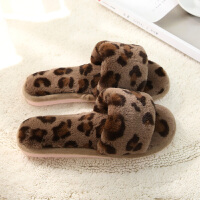 棉拖鞋女冬季时尚办公室居家室内韩式豹纹拖鞋卧室休闲毛毛一字拖