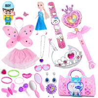 巴啦啦 小魔仙魔法棒女孩发光音乐啦娃娃手提袋投影闪玩具公主头饰 25件套粉色(送电池) 270E款粉