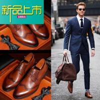 新品上市雕花男鞋英伦尖头男士棕色复古韩版潮流真皮商务休闲皮鞋男