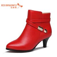 红蜻蜓女鞋秋冬皮鞋鞋子女女靴子加绒WNC77511