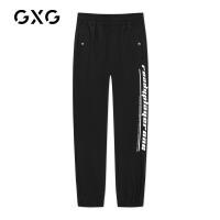 GXG男装 秋季男士时尚青年韩版流行胶印字母束腿裤黑色休闲裤男