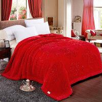 大红色婚庆加厚10斤毛毯秋冬季盖毯拉舍尔双层结婚毯子双人大毛毯y 200X230cm 10斤