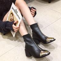 短靴女2018秋冬新款时尚金属小方头前拉链粗跟高跟百搭马丁靴潮