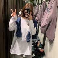 打底衫女春秋装新款韩版洋气宽松百搭白色中长款长袖t恤内搭上衣
