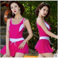 韩国运动连体泳衣女保守裙式泳装小胸聚拢遮肚显瘦温泉游泳衣