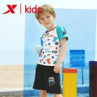 【特步限时直降】特步男童针织套装夏新品舒适套装短袖花纹舒适时尚上衣下装681225349146