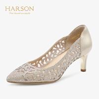 【 限时4折】哈森 2019夏季新款镂空水钻尖头凉鞋女 时尚浅口高跟鞋 HS92411