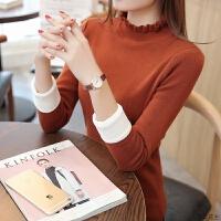 2018秋冬季新款加绒毛衣女短款修身套头加厚半高领保暖打底针织衫