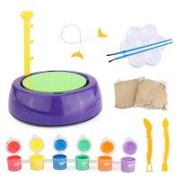儿童玩具彩色陶土学生电动软陶泥粘土陶艺机 手工制作工具套装 陶泥机+2块陶土