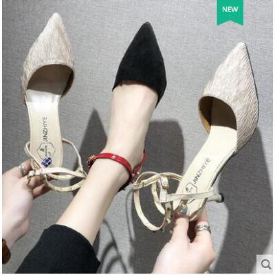 包头凉鞋女凉鞋网红爆款高跟鞋细跟一字扣百搭韩版尖头中空浅口单鞋 品质保证 售后无忧