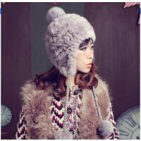 新款个性时尚休闲护耳帽女皮草帽子时尚韩版保暖帽球球甜美可爱兔毛套头帽