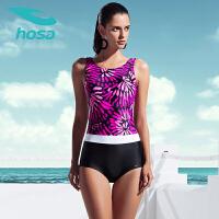 hosa浩沙夏季新品 女士连体三角泳衣 运动游泳衣 保守遮肚显瘦