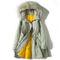 【秋冬新品】小个子工装羽绒服女韩国收腰显瘦冬季韩版真毛领派克2