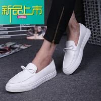新品上市夏季潮男小白鞋男板鞋鞋真皮英伦男鞋大码潮平底鞋懒人鞋