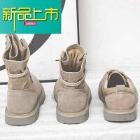 新品上市马丁靴男冬季中帮情侣潮流短靴子复古高帮工装英伦风沙漠靴男