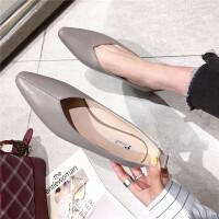 单鞋女尖头浅口休闲平底奶奶鞋韩版时尚百搭一脚踢通勤舒适低帮鞋