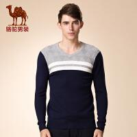 骆驼男装 新款强弹力直筒几何V领撞色毛衣 商务休闲柔软毛衣
