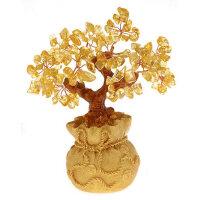 黄水晶招财树 发财树 钱袋树水晶摆件 摆件装饰品