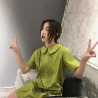 新款连衣裙 2019春夏装新款甜美可爱纯色翻领娃娃裙短裙连衣裙女 绿色 均码