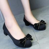 新款老北京布鞋女鞋黑色中跟职业工作鞋轻便舒适粗跟工装鞋女单鞋 黑色