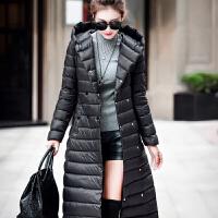 韩版羽绒服女反季欧美超加长款女过膝轻薄连帽修身腰带秋冬外套