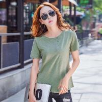 夏季薄款女士纯色T恤开衫扣子宽松打底衫短袖圆领上衣