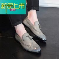新品上市英伦雕花男鞋韩版潮流时尚尖头青年男士型师休闲皮鞋套脚