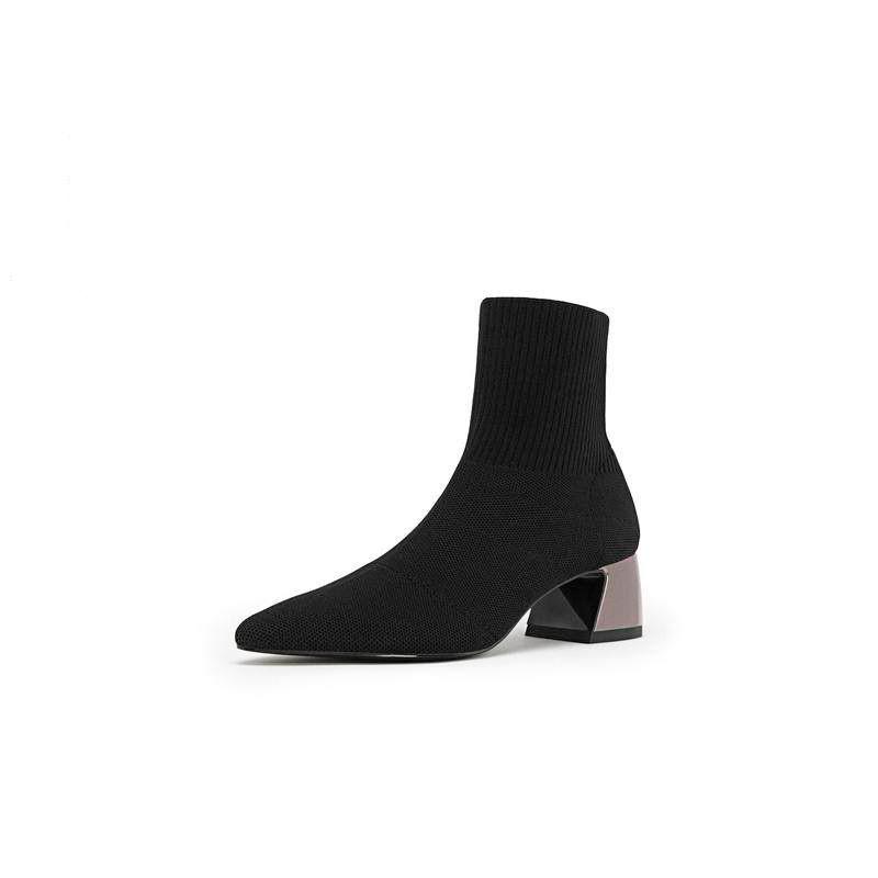 黑色时尚袜靴女2019春新款短靴中跟靴 1690830 黑色  鞋跟高度:4.5CM