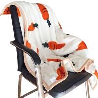 双层毛毯加厚冬季小毛毯午睡毯办公室空调毯单人双人毛毯被子萝卜y 米白色 可爱萝卜