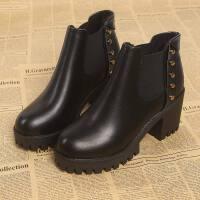 新款马丁靴女英伦风粗跟切尔西短靴女靴春秋单靴磨砂潮粗跟女鞋子