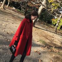 2019新款外套女小清新冬季新款复古森女中长款加厚红色呢子大衣时尚潮
