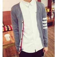 新款个性时尚V领时尚休闲男士长袖毛衣潮男 针织衫韩版修身开衫线衣