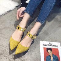 包头凉鞋女夏新款单鞋女士时尚中跟尖头鞋性感细跟高跟鞋