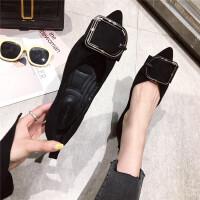 春季新款舒适复古风女士单鞋时尚绒面浅口尖头百搭女鞋