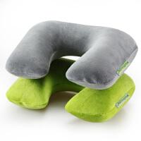 时尚充气枕户外u型棉绒枕吹气飞机旅游护颈枕脖枕坐火车靠枕便携套装