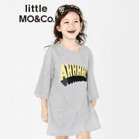 littlemoco女童字母胶印短袖休闲中长款连衣裙KA172DRS204 moco