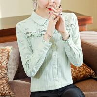 女士衬衣2020初春流行新款女装木耳边长袖打底衫纯色上衣纯棉衬衫
