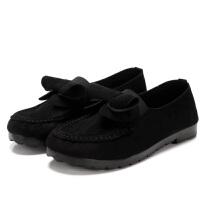 春季新款女鞋平底鞋平跟孕妇鞋工作软底豆豆鞋女老北京布鞋 单鞋黑色 35